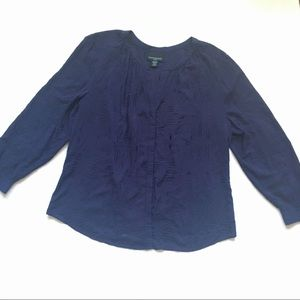 Cynthia Rowley Navy Long Sleeve Blouse Button Up